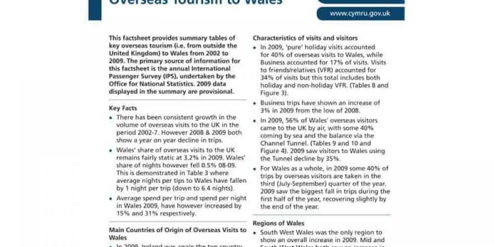 Overseas Tourism to Wales